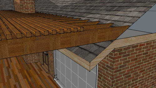 One person said to just put tar under the edge of the 2x8 joists, lay it  directly on top of the shingle, and use 1 screw thru the joists down into  the roof. - Attaching Pergola To Shingle Roof