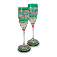 Christmas Garland Champagne Glasses, Set of 2