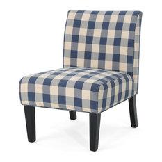GDF Studio Kendal Farmhouse Accent Chair With Matte Black Rubberwood Legs