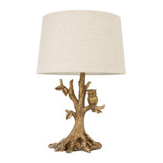 50 most popular rustic table lamps for 2018 houzz decor therapy textured gold leaf owl lamp table lamps aloadofball Choice Image