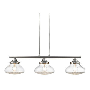 3-Light Linear Brushed Nickel Pendant With Crushed Crystal Glass