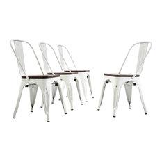 Wood Seat Metal Bar Stool Chairs Set Of 4  Antique White