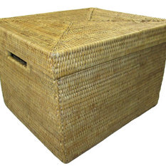 artifacts trading company artifacts trading company rattan file box with lid and cutout handles - Decorative Boxes With Lids