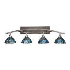 "Bow 4-Light Bath Bar, with 7"" Blue Mosaic Art Glass, Brushed Nickel"