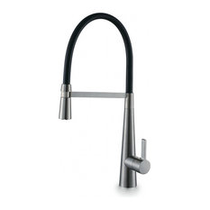 Enki Madeira Pull Out Spray Kitchen Sink Mixer Tap, Tall, Brushed Nickel, Black