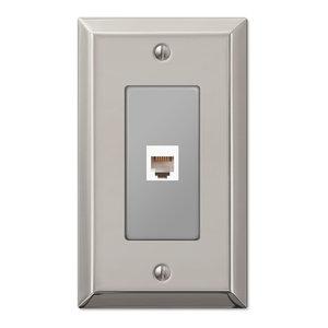 Century Polished Steel Phone Jack Wall Plate, Nickel