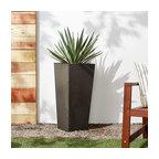 Contempo Tall Square Planter, Dark Charcoal