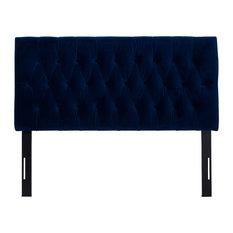 Maya Button Tufted Adjustable Height Headboard, Navy Blue Velvet, Queen
