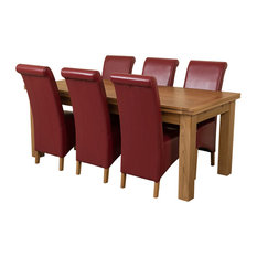 Richmond Oak Extending Table, 6 Montana Leather Chairs, 200-280 cm, Red