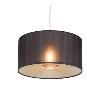 Black Fabric Easy to Fit Ceiling Light Shade with a Ribbon Diffuser