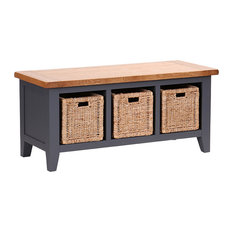 3-Basket Storage Bench, Dark Grey