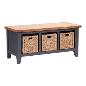 3-Basket Storage Bench, Dark Grey