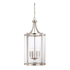 Penrose 6-Light Medium Foyer Lantern, Satin Nickel