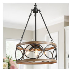 4-Light Caged Drum Pendant Light Adjustable Farmhouse Chandelier