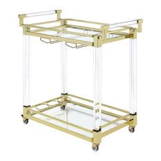 Coaster Kitchen Carts Serving Cart in Clear Acrylic with Brass Metal Frame