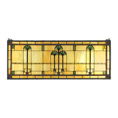 "Meyda Lighting 35""W X 13""H Ginkgo Stained Glass Window"