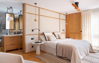 Detalles cálidos y decoración ecléctica en un elegante dormitorio