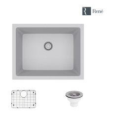 R3-1004-PWT Single Bowl Composite Granite Sink, Pewter, Strainer