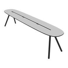 Large A-Lowha Bench, Grey, Black Frame