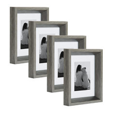 Calter Photo Frame Set, Silver 5x7 matted to 3.5x5