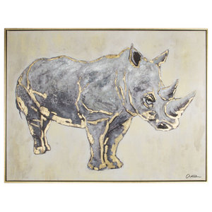 Metallic Rhino Framed Hpainted Cnvs