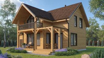 Деревянный дом с гаражом