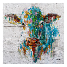 """Colorful Cow Hand Painted"" Canvas Artwork, 40""x40"""