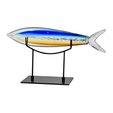 Hand Blown Glass Fish Figurine With Stand