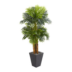 Nearly Natural 5.5' Triple Areca Palm Artificial Tree in Slate Finish Planter