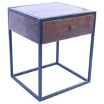 Benzara - The Urban Port Wooden End Table/Night Stand With One Drawer, Brown & Black - Useful, Stylish And Economical This End Table/Nightstand Is A Perfect Platform For Your Beautiful Bedside Vignette Of Variety Of Items Or The Perfect Spot For Stowing Stamps And Stationary In The Entryway. Ensuring Sturdy Base, Constructed Of Metal And Acacia Nilotica Wood, Its A Durable Furniture Piece With Modern Taste. The Stylish End Table/Nightstand Features 1 Drawer Where You Can Keep Your Important Papers, Letters Or Another Things Etc.