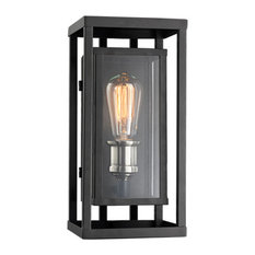 Showcase 1 Light Outdoor Wall Light in Black And Brushed Nickel