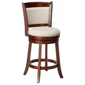 Modern Stool With Solid Walnut Wooden Frame and Padded Seat