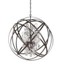 Capital Lighting Axis 6-Light Pendant with Crystals Included, Russet