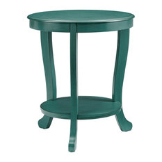 Powell Merce Wood Accent Side Table In Teal Blue