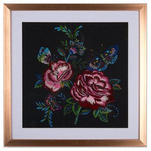 Folk Floral Black Stitched Framed Print, 40x40 cm
