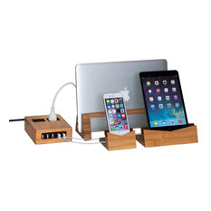 Bamboo Charging Station With Power Square
