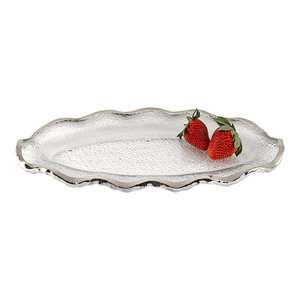 Silver Edge Handcrafted Mouth Blown 13 Platter Or Charger Traditional Serving Dishes And Platters By Badash Crystal