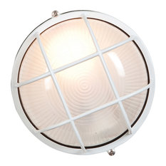 """Nauticus Outdoor LED Bulkhead, White With Frosted Glass Shade, 7"""""""