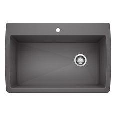 "Blanco 441467 22""x33.5"" Granite Single Dual-Mount Kitchen Sink, Cinder"