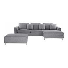 Oslo Modern Modular Sofa in Fabric With Ottoman, Light Grey