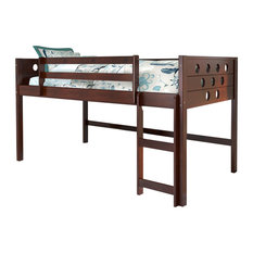 Donco Kids Circles Low-Loft Bed, Cappuccino, Twin