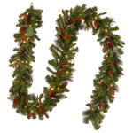 "National Tree Company - 9'x10"" Crestwood Spruce Garland With 50 Battery Operated Soft White LED Lights - National Tree Company 9' x 10"" Crestwood Spruce Garland With Silver Bristle, Cones, Red Berries and Glitter With 50 Battery Operated Soft White LED Lights, The Crestwood Spruce is a sparkling mixed branch garland featuring bristle tips and trimmed with pine cones, red berries and glitter. It is pre-strung with 50 battery-operated warm white LED lights that are energy-efficient and long lasting. This indoor/outdoor garland can be displayed over doors, windows, fireplace mantels, fence or stairway railings."