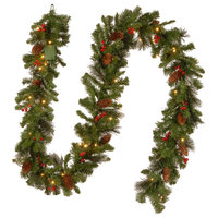 """9'x10"""" Crestwood Spruce Garland With 50 Battery Operated Soft White LED Lights"""