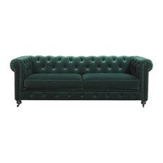 """Winston 91"""" Tufted Chesterfield Sofa, Forest Green Velvet"""