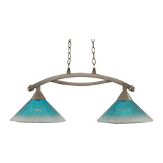 "Bow 2 Light Island Light In Brushed Nickel, 12"" Teal Crystal Glass"