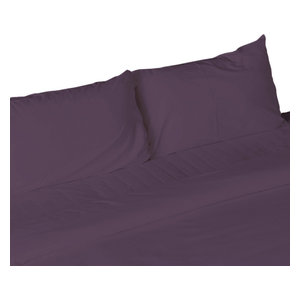 4-Piece, 1,800 Thread Count, Bamboo Feel, Soft Bed Sheets, Purple, Full