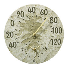 "14.5"" Diameter Fossil Sumac Thermometer Clock, Moss Green"