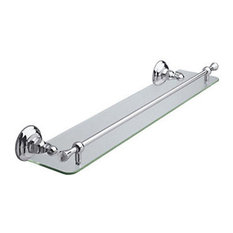 Rohl 24in Wall Mounted Glass Vanity Shelf in Polished Chrome