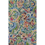 Company C - Soiree Rug, 3x5 - Swirling jewel tones rendezvous with deep vibrant hues in a lush leafy pattern reminiscent of rich damask designs. Tie-dyed yarns add a multitude of subtle shadings, resulting in a hand-tufted rug with energetic appeal. 100% wool hand-tufted in a loop pile.