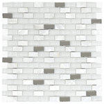 "Mosaic Decor - White Glass and Shell Mosaic Backsplash Tile, 12""x12"" - Try it before you buy by ordering a sample!"